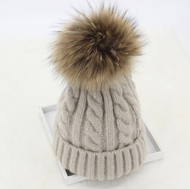 Kids 15cm Nature Real Fur Pom pom Cable Twist Knitted Hats Girls Women Curled Warm Wool   Skullies     Beanies   Caps Ski Bonnet Gorros