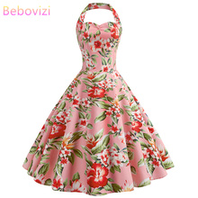 Bebovizi 2019 Summer New Women Casual Office Vintage Elegant Party Dresses Flower Print  Pink Plus Size Sexy Retro A-Line Dress