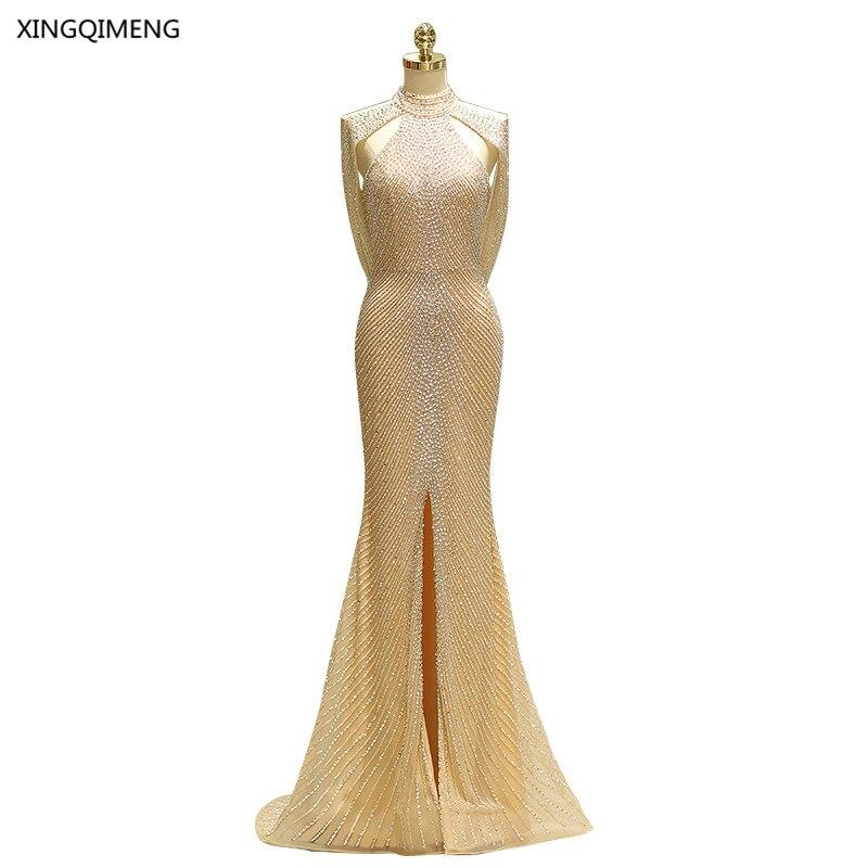 Splendida Sirena Sexy Vestito Da Sera Lungo Elegante di Alta Qualità di Paillettes In Rilievo Formale Abito Elegante Backless Donne Abito Foto Reali