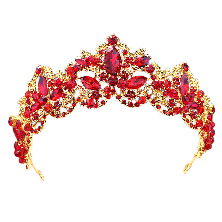 KMVEXO Fashion Baroque Luxury Red Crystal Bridal Crown Tiara Vintage Gold Diadem Tiaras for Women Bride Wedding Hair Accessories