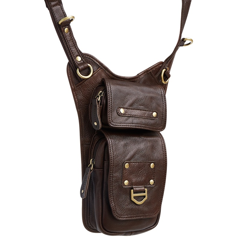 New retro style men bag genuine leather messenger bags leisure travel men shoulder bag high quality cowhide crossbody bag brown new style messenger bag men leather top grade all match hasp fashion retro cow leather men bag solid color small shoulder bags