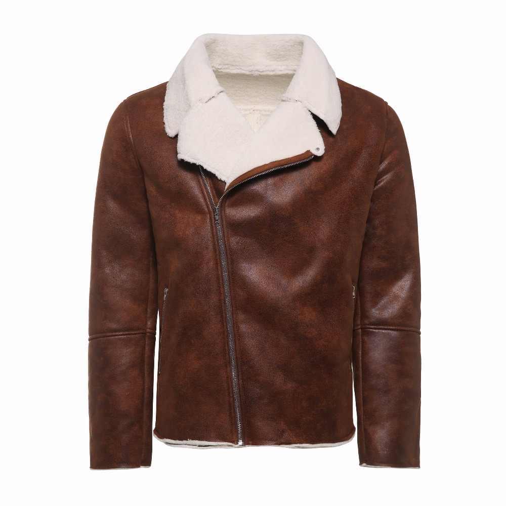 7174fc804 Faux Fur Collar Faux Leather Jacket Men Winter Brown Suede Jacket Fleece  Warm Bomber Coats Male Outwear Pocket 3XL Side Zipper