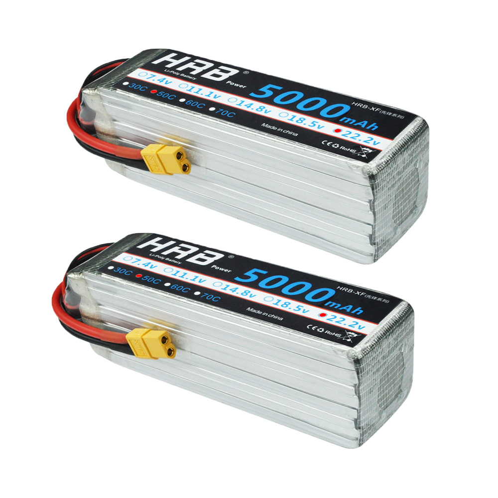 2pcs HRB 22.2V <font><b>5000mAh</b></font> 50C <font><b>6S</b></font> RC Lipo Battery XT90 EC5 XT60 TRX T For Cars Quadcopter Helicopter Airplanes Drone Align 7.2 Yak image