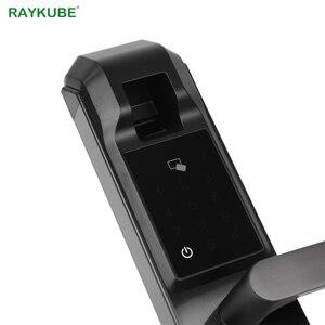 Image 2 - RAYKUBE ספרות טביעות אצבע דלת נעילת Keyless כניסה חכם נגד גניבה מנעול אבטחת בית עם RFID קורא R FZ3