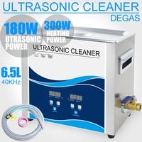 6.5L ультразвуковой очистки Нержавеющаясталь Ванна 180 Вт Мощность Регулируемый 40 кГц дегазации Ультразвуковой Зубной чище бытовые медицинс