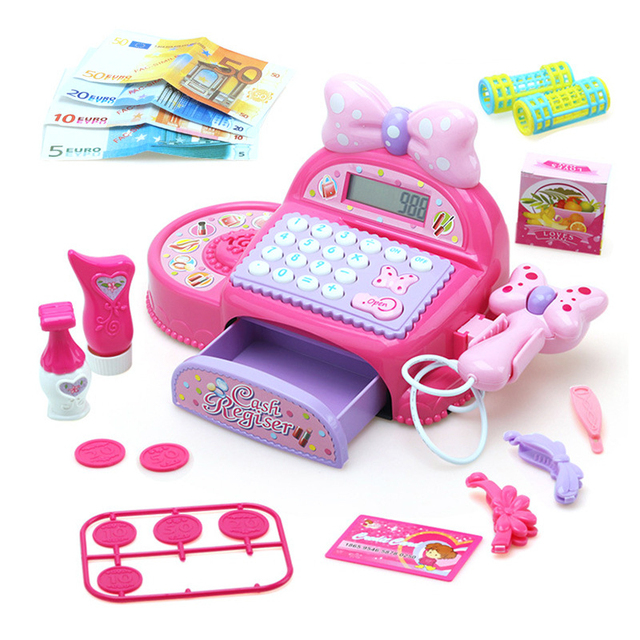 Princess Surwish Kids Cash Register Cashier Pretend & Play Children Early Educational Toy with Shopping Basket