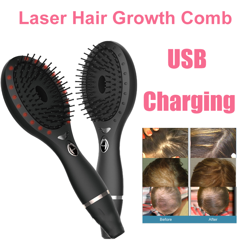 LED Photon Laser Hair Growth Comb Infrared Ray Vibration Detangling Hair Anti Loss Regrowth Brush Head Scalp Stimulate Massager laser hair growth comb photon light therapy anti hair loss massager hair regrowth comb hair scalp massage brush head massager