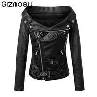 Sexy PU Faux Cuir Vestes Manteaux Femmes Slash Cou Épaule Outwear Zipper Mince Noir Complet Manches Moto Veste BN1348