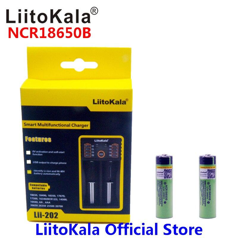 2 pz Liitokala 3.7 v 3400 mah 18650 Li-Ion Ricaricabile Batteria (NO PCB) + Lii-202 USB 26650 18650 AAA AA Caricabatterie Intelligente