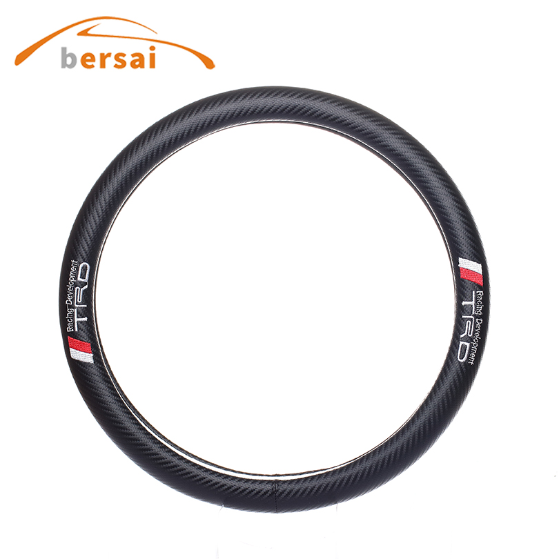 Bersai Carbon fiber car steering wheel cover Car styling for TRD for Toyota Nissan GTR Teana LIVINA X-TRAIL QASHQAI accessories car styling carbon fiber side fender covers trim for nissan gtr base coupe 2008 2016