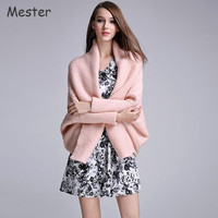 European Fashion Women Loose Shawl Batwing Cardigan Solid Color Thick Knitted Poncho Sweater Pink Black White