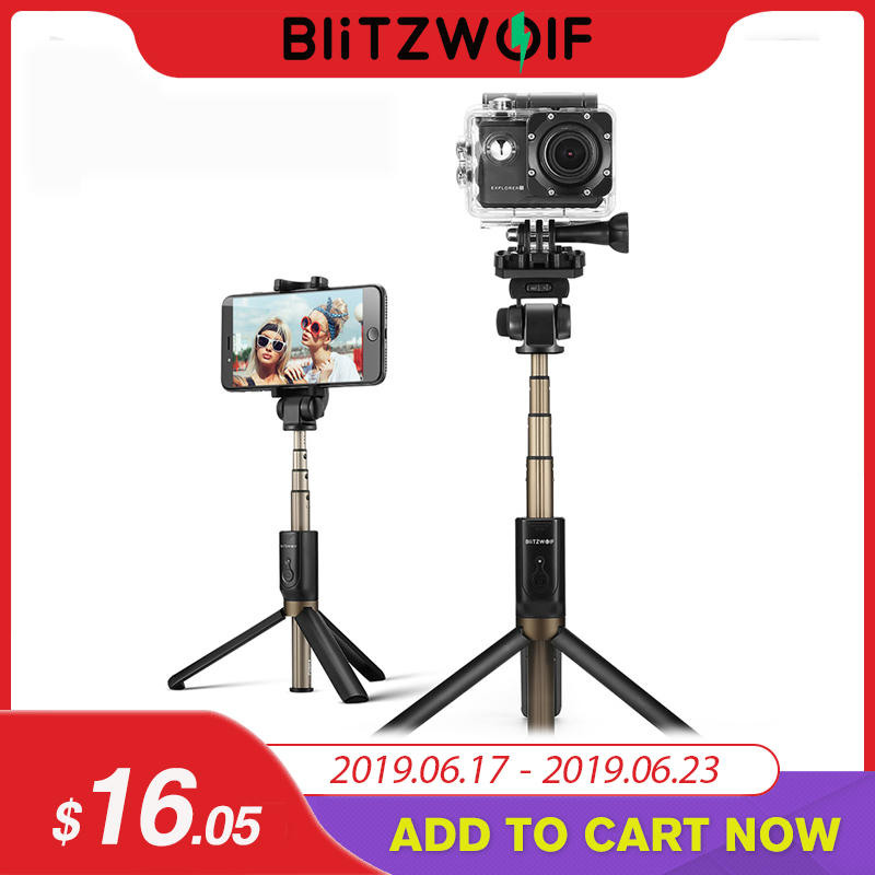 BlitzWolf 4 in 1 Camera Tripod bluetooth Selfie Stick Wireless Monopod For Gopro 5 6 7 Sports Camera For iPhone X 8 Smartphone