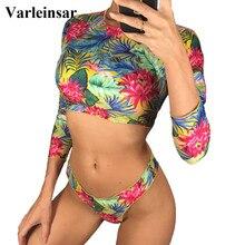 2019 Long Sleeve Bikini Female Swimsuit Women Swimwear Two-pieces Bikini set Thong Bather Printed Bathing Suit Swim Lady V1058