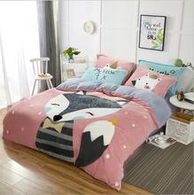 KALAMENG Cartoon Pink Soft Print Crystal Velvet Pink Comforter Bedding Set  Children Bed Sheets 4PCS Duvet ...
