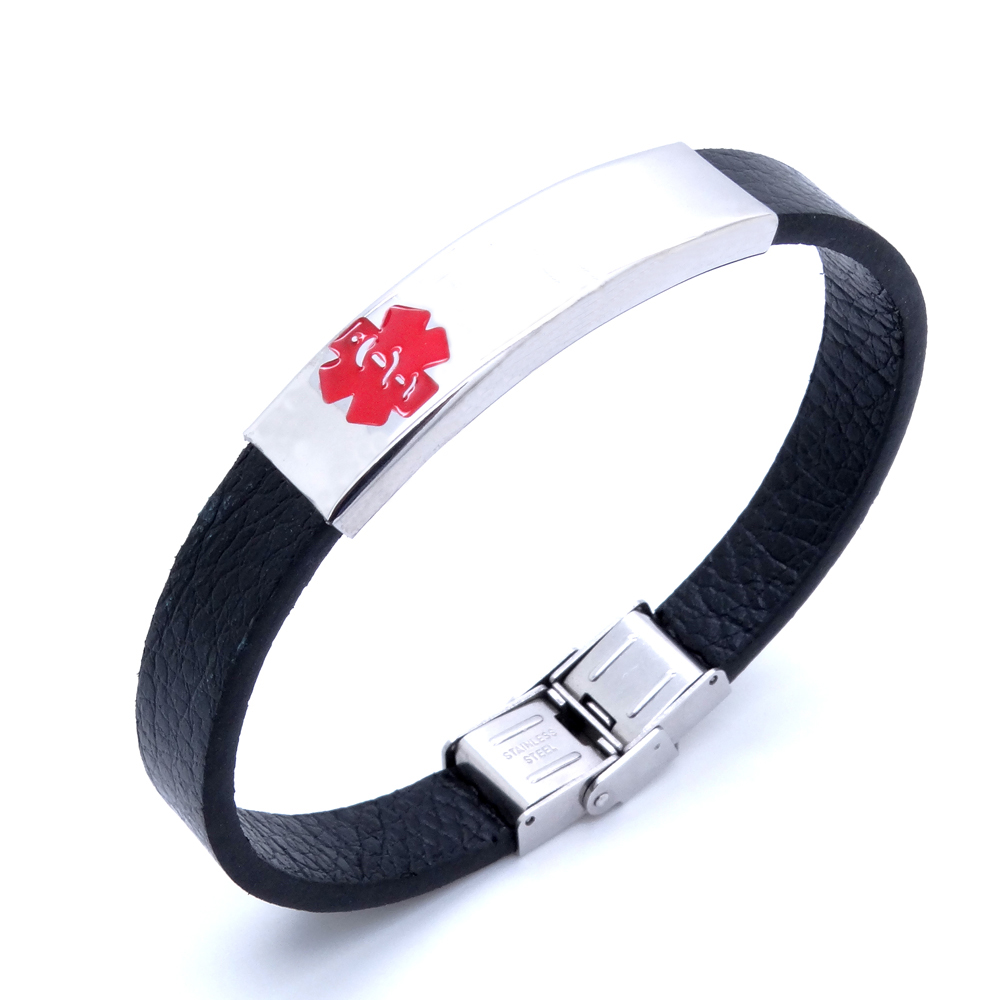 100% Stainless Steel Id Bracelet Leather 10 Mm 8 Inches Medical Alert  Bracelets For Men