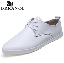 New 2016 Spring Genuine Leather Women Flats Shallow Mouth Toe Shoes England Women Trainers Lace-Up White Shoes zapatos mujer