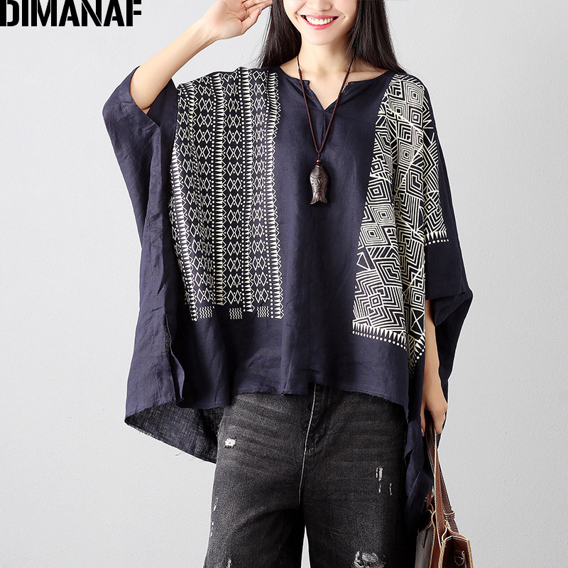 DIMANAF Women Summer   Blouse     Shirts   Plus Size Linen Print Female Loose Tops Vintage Casual Batwing Oversized Clothing 100KG Fit
