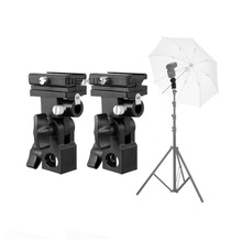 все цены на Flash Hot Shoe Umbrella Mount Holder Swivel for Light Stand Flash Bracket B 2pcs онлайн