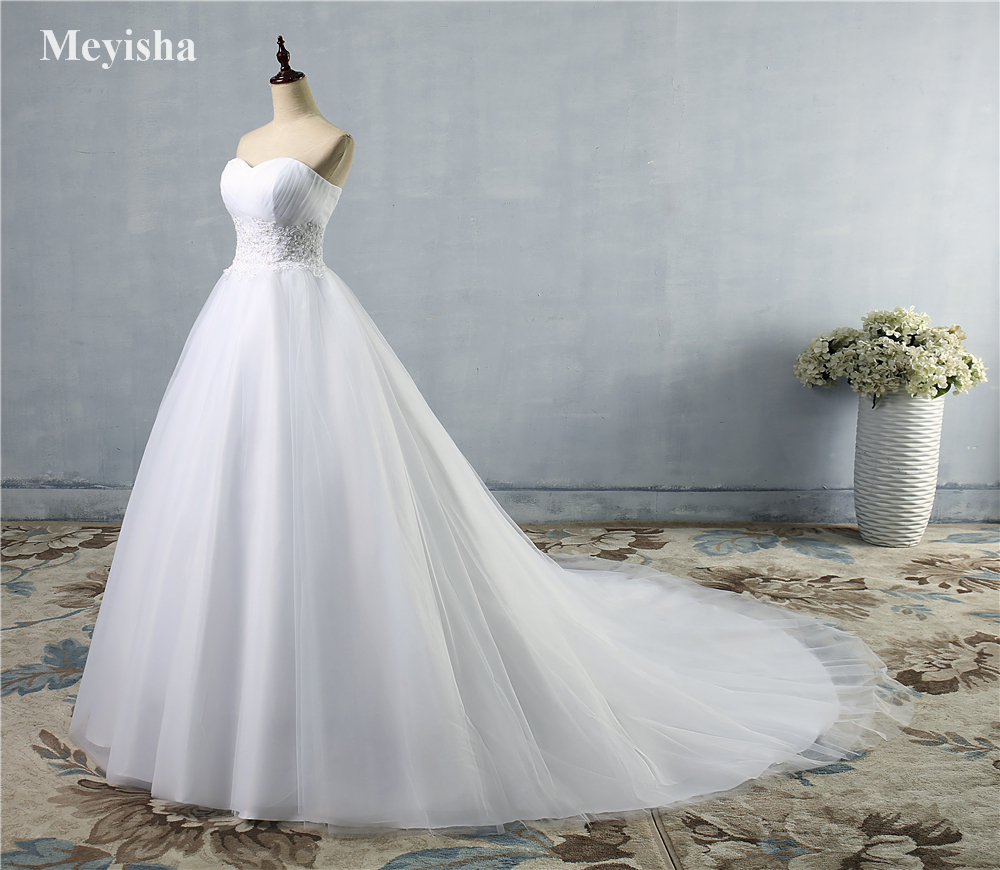 ZJ9008 New Design A line Sheer Neckline With Crystal Beads Tulle Lace Wedding Dress 2019 Bridal