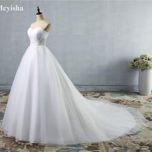 ZJ9008 дизайн-линии Sheer декольте с хрустальные бусины Тюль И Кружева свадебное платье Свадебное платье размер 2-26 W