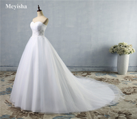 ZJ9008 New Design A line Sheer Neckline With Crystal Beads Tulle & Lace Wedding Dress 2019 Bridal Dress size 2 26W Free shipping
