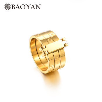 Baoyan Gold Plating Stainless Steel Lock Rings Engraved Ch Letter Couple Rings Fashion Brand Wedding Engagement Rings For Women Leather Bag