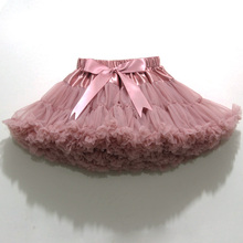Double Layer Fluffy Pettiskirt for 2-18 Years Girls Solid Colors tutu skirts girl Dance Skirt Christmas Tulle Petticoat