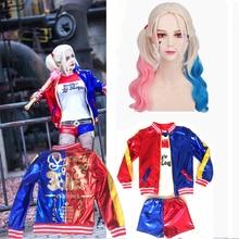 New Girls Kids Harley Quinn Costume Cosplay JOKER Suicide Squad Christmas New Year Purim Party Jacket sets Chamarras De Batman стоимость