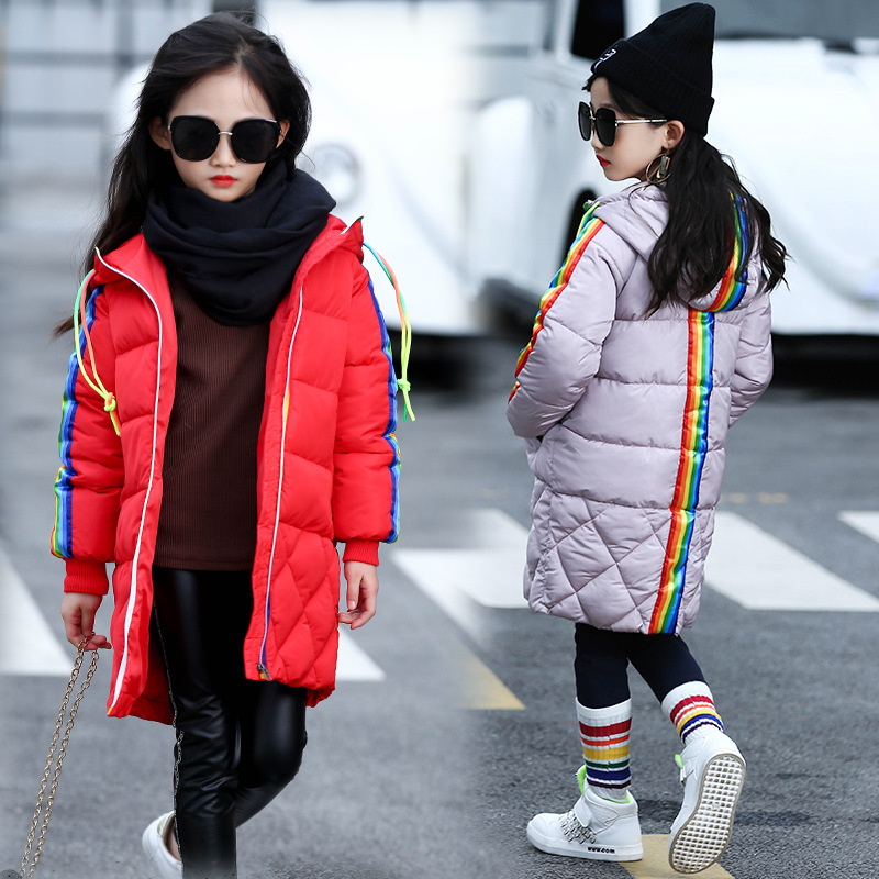 2017 Winter New Kids Girls Down Jacket Coat Thicken Warm Long Parkas Children Hooded Coat Cotton-padded Overcoat 2015 new hot winter thicken warm woman down jacket coat parkas outerwear hooded splice mid long plus size 3xxxl luxury cold