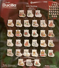 אוסף זהב נספר ערכת הצלב סטיץ זעיר גרב קישוט קישוטי חג המולד, 30 יחידות bucilla גרביים 84880
