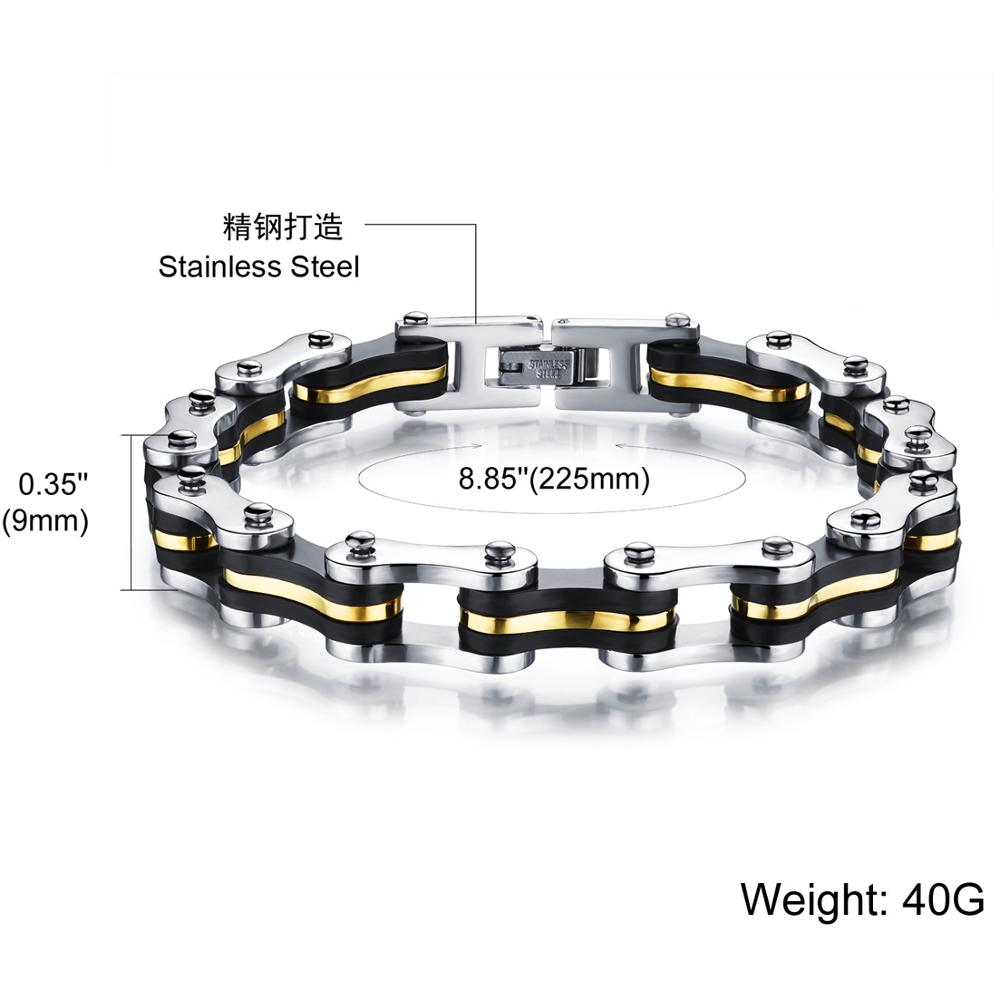 Granny Chic High Quality Stainless Steel Silicone Bracelets Bangles Punk Jewelry Accessories For Male Best Friends 9mm 22 5cm in Chain Link Bracelets from Jewelry Accessories