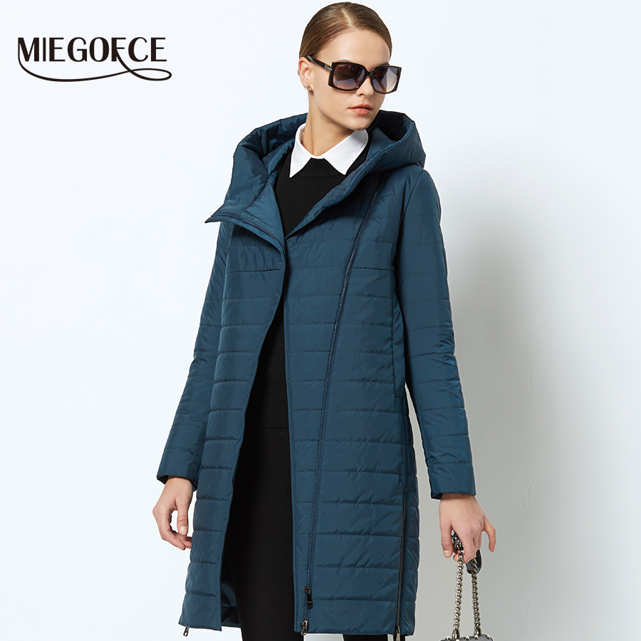MIEGOFCE 2018 Spring Women Jacket With a Curve Zipper Women Coat High-Quality Thin Cotton Padded Jacket Women's Warm Parka Coat