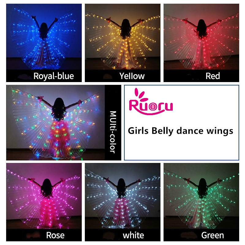 Ruoru Girls Colored Belly Dance LED Wings White Rainbow Children Kids Led Isis Wings Bellydance Performance