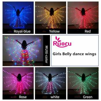 Ruoru Girls Colored Belly Dance LED Wings White Rainbow Children Kids Led Isis Wings Bellydance Performance Dancing Accessories - DISCOUNT ITEM  39% OFF All Category