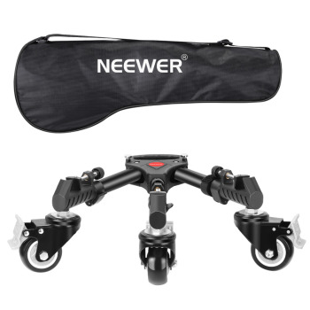 Neewer Photography Tripod Dolly, Heavy Duty with Larger 3-inch Rubber Wheels, Adjustable Leg Mounts and Carry Bag for Tripods