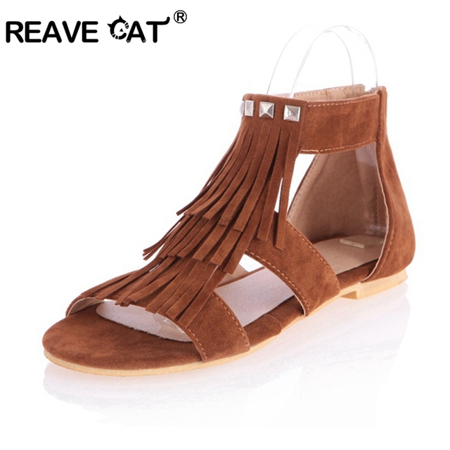 REAVE CAT Big size 34-43 New arrival Fashion Tassel flat Sandals for women Flip-flops and women summer shoes Black Tassel RL1006