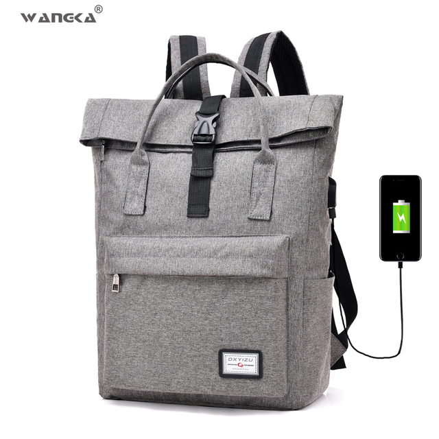 WANGKA Women Men Casual Canvas Backpack with USB Charging