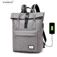 WANGKA 2019 Hot Sale Canvas Backpack Women School Bags for Girls Large Capacity USB Charge Men Laptop Backpack