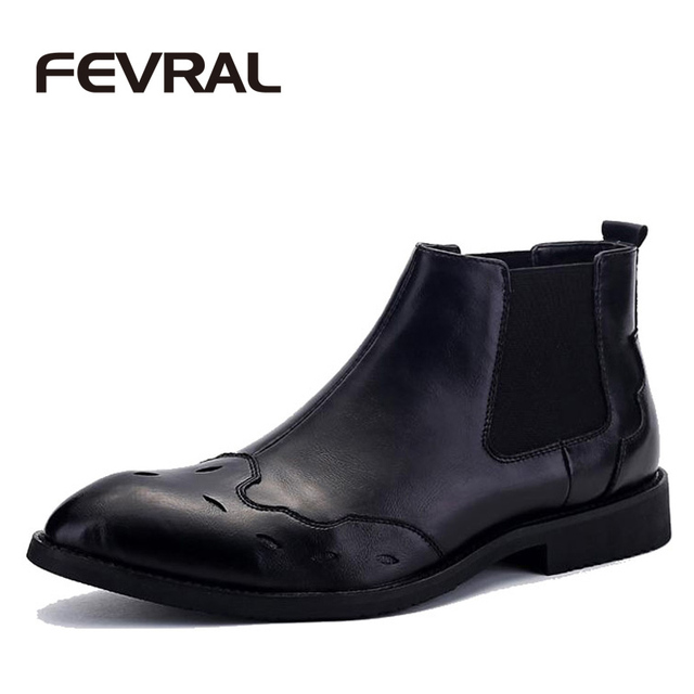 FEVRAL Brand High Quality Cow Split Leather Men Fashion High Top Boots Men Ankle Boots Casual Design Cowboy Boots Men Shoes