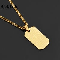 CARA NEW 316L Stainless Steel Gold Color Text Cross Square Tablet Necklace Charm With 60cm Snake