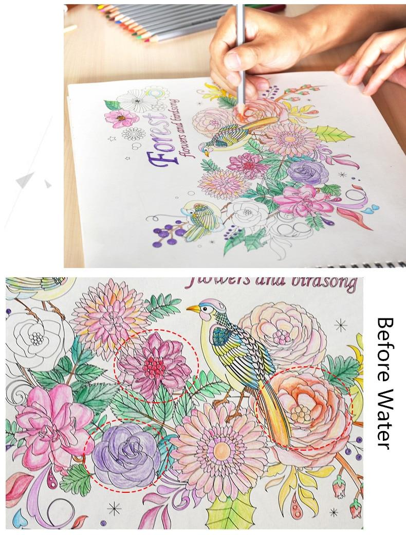 24, 36, 48 colores lápices de acuarela con el pincel, lápices de ...