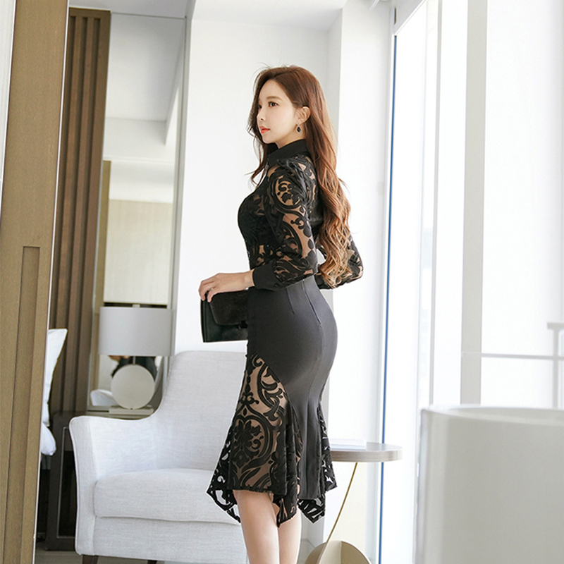 Temperament Skirt Sexy Shirt 2019 Arrival Vintage Wild Bouncy Slim Fashion Women Perspective Lace Trend Comfortable Black Sets New tf8Uxwq8F