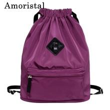 Women Drawstring Bag Fashion Simple Pocket Lightweight Sports Fitness Bucket Bags Schoolbag Men Folding Waterproof Backpack B225