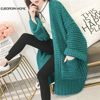 2019 New Spring Autumn Sweater Women Plus Size Loose Korean Fashion Long sleeves Cardigan Knitted Sweater Long Coat Female