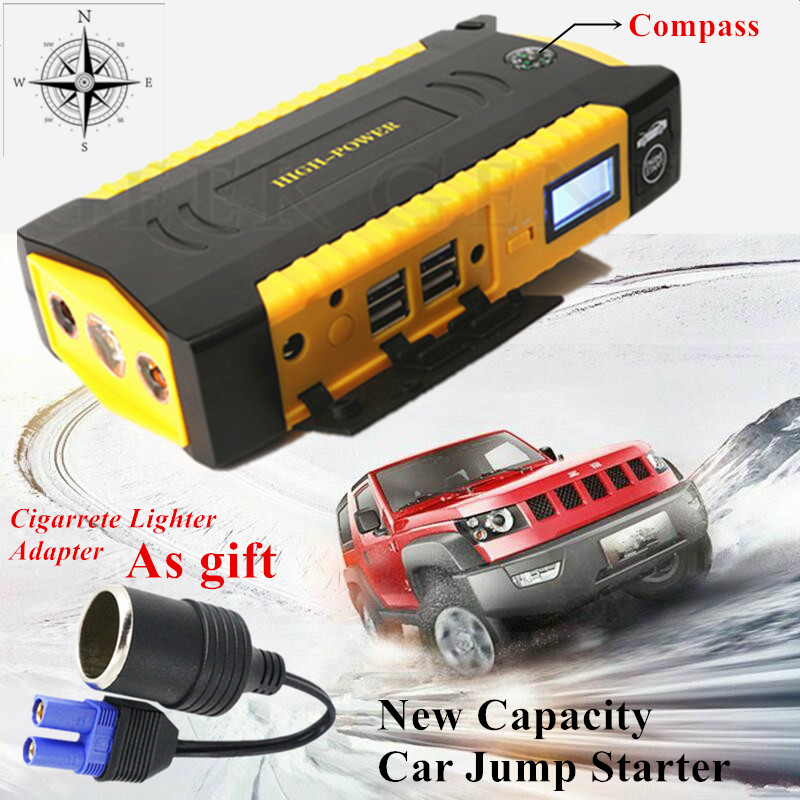 2017 High Capacity Car Jump Starter 12V Petrol Diesel Starting Device Power Bank 600A Car Charger For Battery Booster Buster LED 2017 hot high capacity 12v petrol diesel car jump starter 600a peak car battery charger mini 4usb power bank sos light free ship