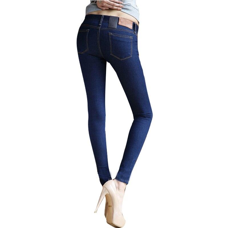 ФОТО Female Skinny Pencil Jeans Pants Solid Blue/ Black Zipper Big Elastic Slim Jeans Long Trousers