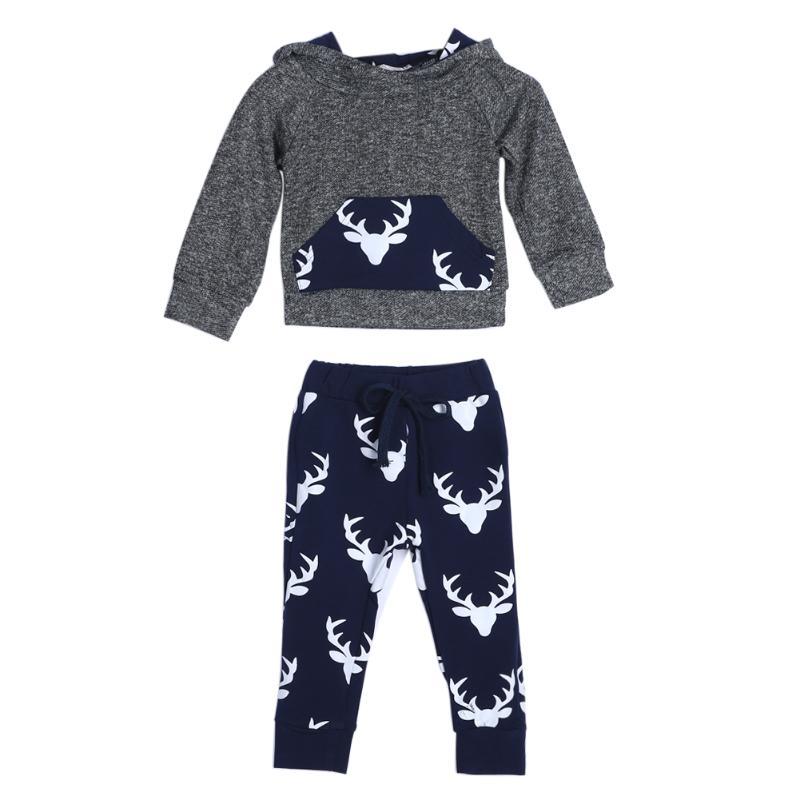 2pcs Toddler Kids Baby Boy Girl Clothes Deer Hooded T-shirt Top+Pants Outfi