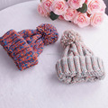 Fall Winter Beanies Knitted Hat For Women Mixed Colors Woolen Hat Outdoor Bone Ski Cap Pom Poms Casual Cap