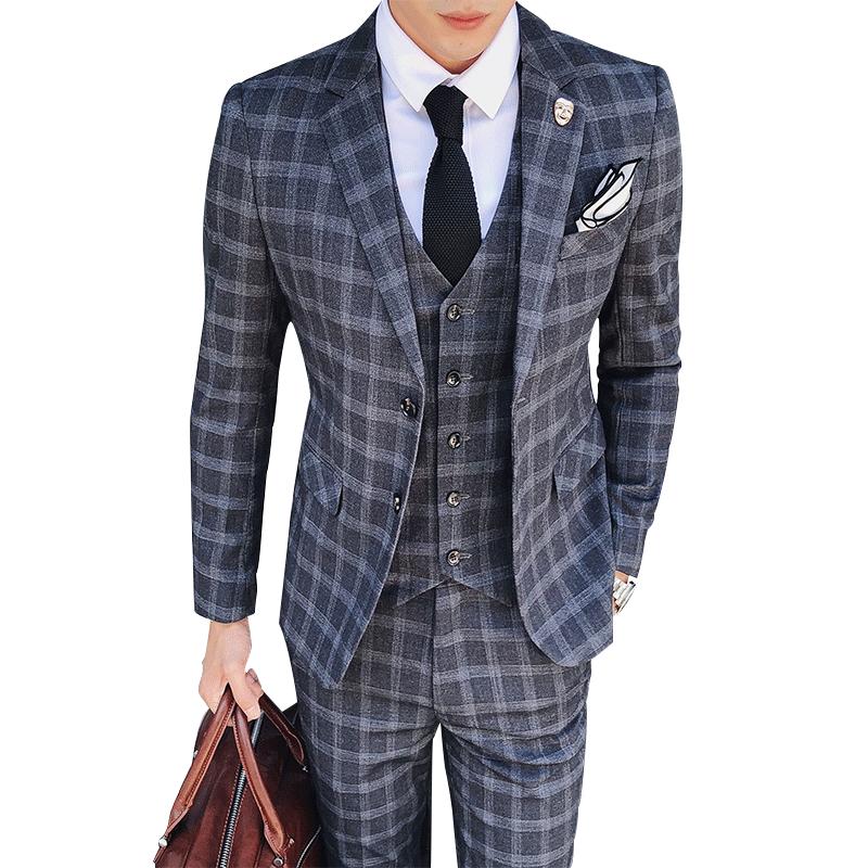 2019 fashion vintage plaid suits 3 piece tweed suits mens. Black Bedroom Furniture Sets. Home Design Ideas