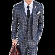 2019 trajes a la moda Vintage a cuadros de 3 piezas Tweed trajes para hombre gris azul trajes de boda para Hombre Trajes de corte entallado